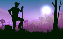 Farmer on field. Illustration  background of farmer working on his field in the morning sun , silhouette concept Stock Photo