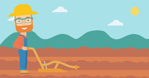 Farmer on the field with plough. A hipster man with the beard using a plough on the background of plowed agricultural field vector flat design illustration Stock Photos
