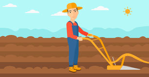 Farmer on the field with plough. A man using a plough on the background of plowed agricultural field vector flat design illustration. Horizontal layout stock illustration