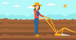 Farmer on the field with plough. Royalty Free Stock Photo