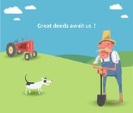 The farmer in the field. The vector picture with agriculture landscape Stock Image