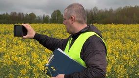 Farmer filmed with tablet PC yellow rape field stock footage