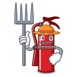 Farmer fire extinguisher character cartoon. Vector illustration Stock Images