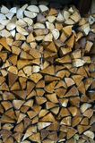 Farmer Firewood, Swiss Alps. Wood stashed for the winter, Switzerland Royalty Free Stock Photos