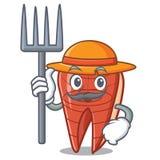 Farmer fish slice character cartoon. Vector illustration Stock Photos