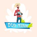 Farmer Fishman Hold Fish Eco Farming Logo Concept Stock Photos