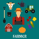 Farmer with flat agriculture icons Stock Image