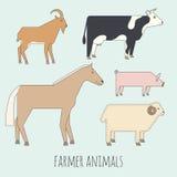 Farmer flat animals Stock Photo