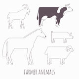 Farmer flat animals Royalty Free Stock Photography