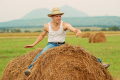 Farmer fooling around Stock Photos