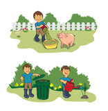 Farmer in garden vector illustration