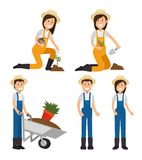 Farmer gardener cartoon people. Young male and female figures vector illustration graphic design Royalty Free Stock Photography