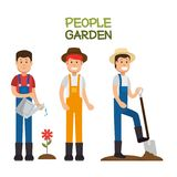 Farmer gardener cartoon people. Young male and female figures vector illustration graphic design Stock Image