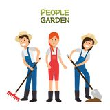 Farmer gardener cartoon people. Young male and female figures vector illustration graphic design Royalty Free Stock Photo