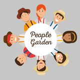 Farmer gardener cartoon people. Young male and female figures vector illustration graphic design Royalty Free Stock Image