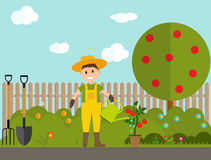Farmer Gardener Man with Watering Can and Tomato Plant in Modern. Flat Style Vector Illustration EPS10 Stock Photo