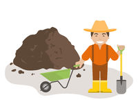 Farmer or Gardener with Shovel and Wheelbarrow. The farmer or gardener holding a shovel and wheelbarrow with pile of soil. Organic fertilizers icon. Vector royalty free illustration