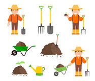 Farmer and Gardener with Tools Royalty Free Stock Images