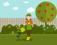 Farmer Gardener Woman with Watering Can and Tomato Plant in Mode. Rn Flat Style Vector Illustration EPS10 Royalty Free Stock Photo