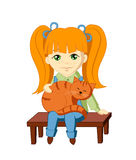 Farmer Girl with a Cat. Vector character - a happy young farmer girl with long red hair, sitting on a bench and holding a big red cat Stock Images