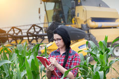 Farmer girl on field with combine harvester Royalty Free Stock Image