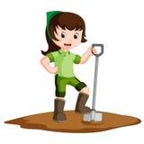 Farmer girl holding a shovel. Illustration of Farmer girl holding a shovel royalty free illustration