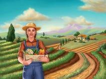 Farmer girl in a rural landscape stock photos
