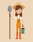 Farmer girl straw hat shovel and bucket earth. Illustration royalty free illustration
