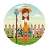 Farmer girl straw hat shovel garden fence. Illustration royalty free illustration