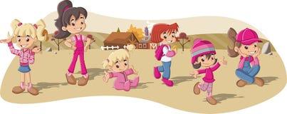 Farmer girls on a farm. Group of cartoon farmer girls on a farm Royalty Free Stock Image