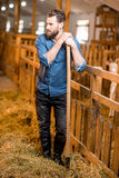 Farmer in the goat barn Stock Photo