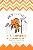 Farmer halloween invitation card for costume night party cute ki Stock Images