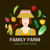 Farmer and harvest natural eco food: farm agriculture logo. Female family farmer harvest natural eco food. Stylish quality detail icon set farm vegetable plants Stock Photography