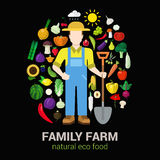 Farmer and harvest natural eco food: farm agriculture logo. Farmer with shovel and harvest products icons. Stylish quality detail icon set farm fruit vegetable Royalty Free Stock Image