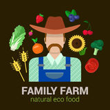 Farmer and harvest natural eco food: farm agriculture logo. Farmer and harvest natural eco food. Stylish quality detail icon set farm fruit vegetable berry Stock Photos
