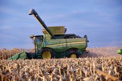 Farmer harvesting a crop of autumn maize. Using a combine harvester with arm raised viewed over freshly cut stalks Royalty Free Stock Photography