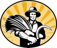 Farmer harvesting wheat scythe Royalty Free Stock Image