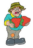 Farmer has a big pair of strawberries Stock Photo