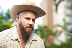 Farmer with a hat Stock Photography