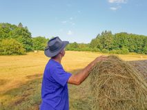 A farmer in a hat stands at a stack of fresh hay. A farmer in a hat looking in the field with stacks of fresh hay after harvesting wheat royalty free stock photo