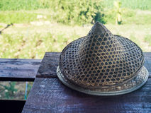 Farmer hat on wood table. With nature farm view Stock Photography