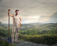 Farmer on a hill Royalty Free Stock Photography