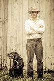 The Farmer and his Best Friend Royalty Free Stock Images