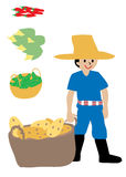 Farmer and his crops. Potatoes peas corns and chillies Stock Photo