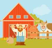 Farmer and his farm. Vector image of a farmer and his beautiful farm Stock Photos