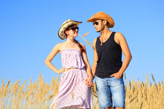 Farmer and his girlfriend Royalty Free Stock Images