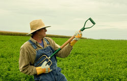 Farmer in his hay field playing air guitar. Farmer standing in a hay field playing air guitar on his fork stock images