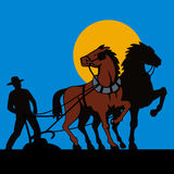 Farmer and his horses. Vector art of a Farmer and his horses Royalty Free Stock Photography