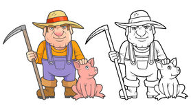 Farmer and his pet Royalty Free Stock Photo
