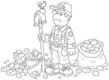 Farmer with his potato crop. Smiling gardener with a spade and potatoes in a bucket and a sack, a black and white vector illustration in a cartoon style for a Royalty Free Stock Images